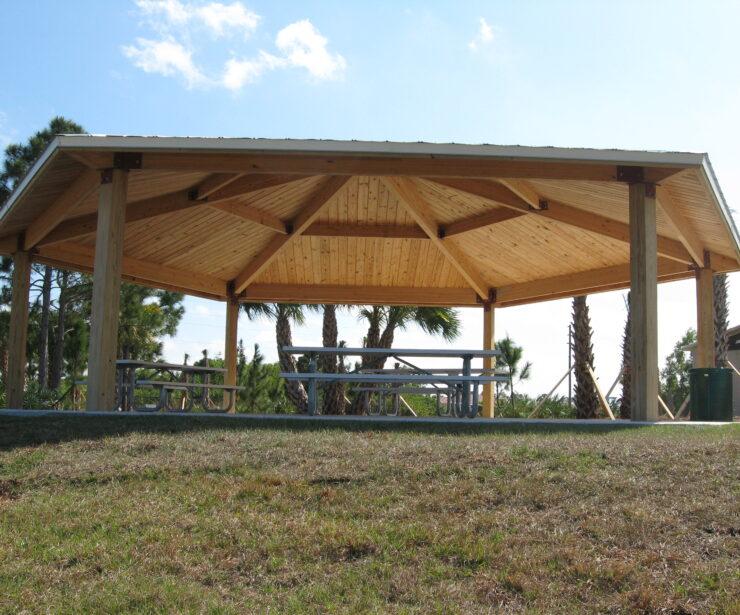 Laminated Wood Hexagon Shelter